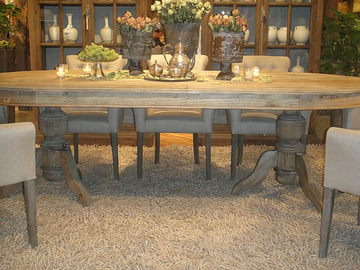 French Country Pedestal Table  Farmhouse  Quot Round - Wood pedestal dining table