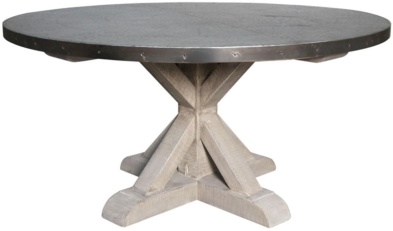 French Country Furniture Dining Tables Hammered Zinc