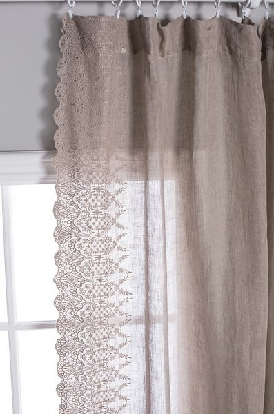 Annabelle Curtain Pom Pom Linen Voile