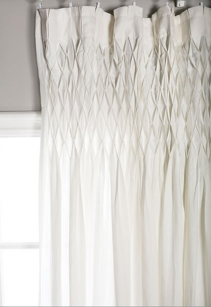 Smocked Curtain Pom Pom Linen Voile