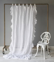 Bella Notte Whisper Linen Curtain Panel with ruffle