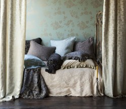Bella Notte Adele Sham with Silk Velvet Piping (top of bed)