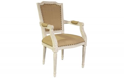 Anton Arm Chair, White Weathered