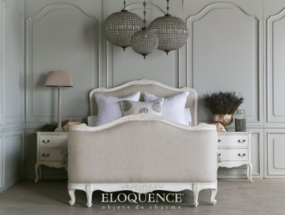 ELOQUENCE Sophia Antique White Bed, King
