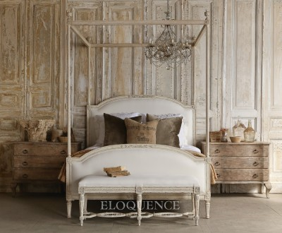 Eloquence® Dauphine Queen Canopy Bed in Weathered White