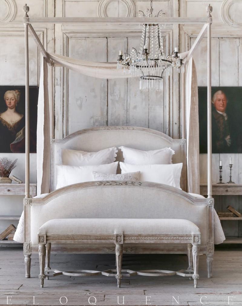 Dauphine bed. Swedish decor inspiration, French and Gustavian Design Style from Eloquence. #swedish #interiordesign #frenchcountry #gustavian #nordic #decoratingideas #whitedecor #eloquence #furniture