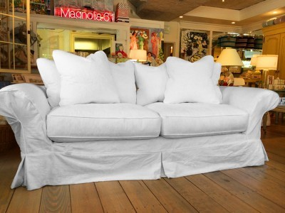 Shabby Chic Couture Floris Slipcovered Sofa In White Denim Matele Click For A Detailed View